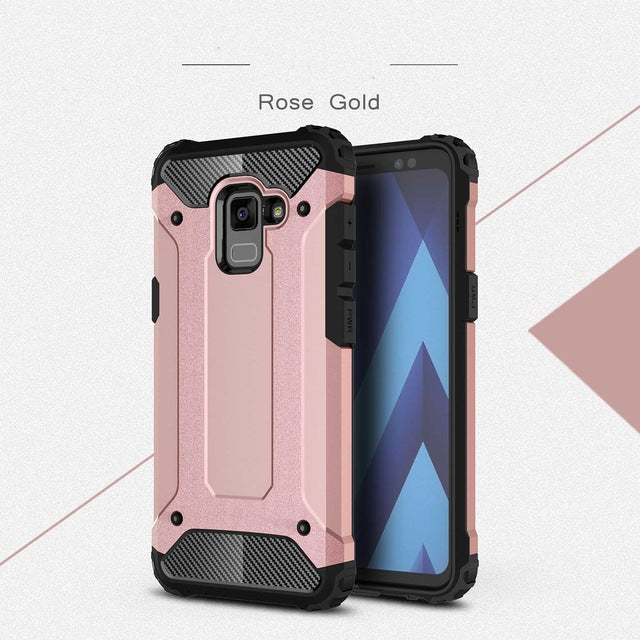 carbon fiber armoured phone case samsung A8 pink