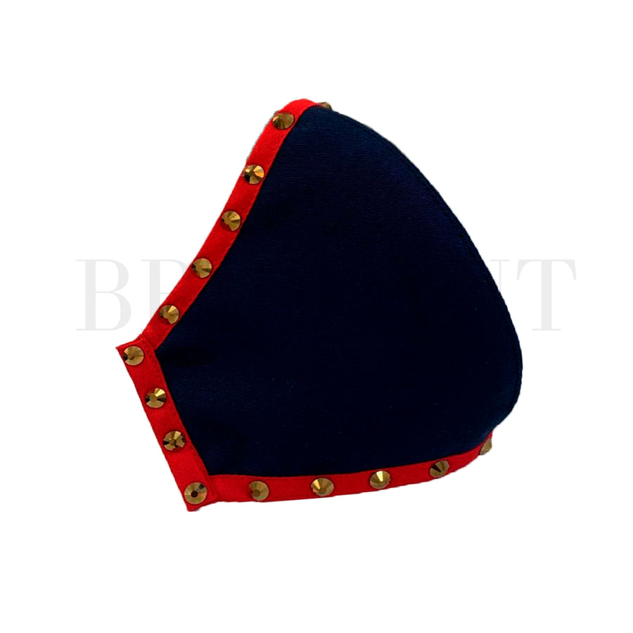 Navy Blue-Red Mask - Gold Rhinestones
