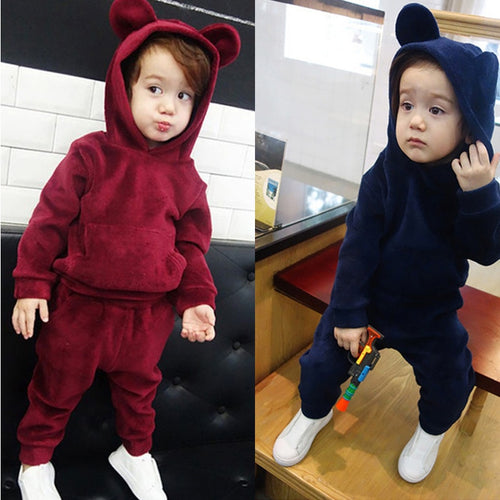 Clothing Sets Mother & Kids 2018 Boys Clothes Girls Set Long Sleeve Autumn Winter Kids Outfits Clothing Cotton Girl Boy Set 2 Pcs Hooded Sport Suit