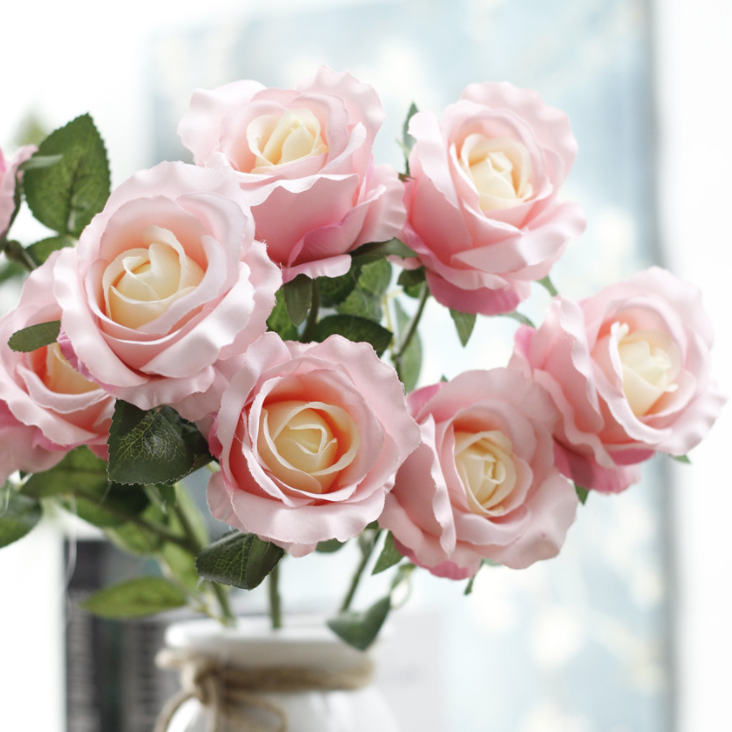Silk Poland Rose 3 Heads - Tall 57 cm - rosemorning