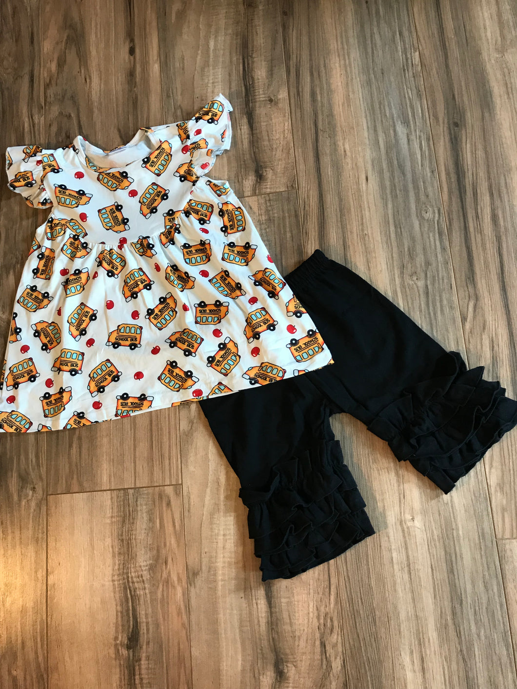 School Bus Tunic & Ruffled Shorts Outfit