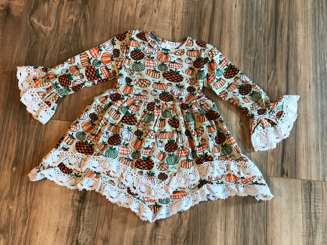 Lace Bell Sleeve Pumpkin Patch Tiered Dress