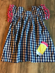 Back to School Pencil Blue Gingham Flutter Sleeve Dress