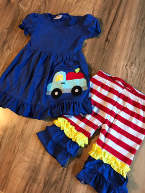 Blue Vintage Apple Truck Ruffled Outfit