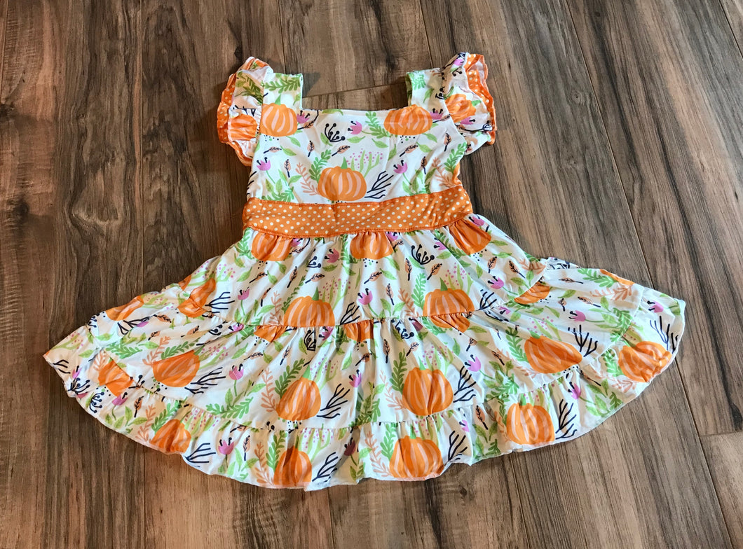 Pumpkin Patch Fall Ruffle Sleeve Dress