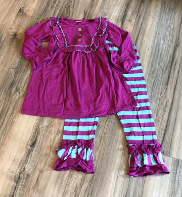 Blue & Purple Boutique Bell Sleeve Ruffled Outfit
