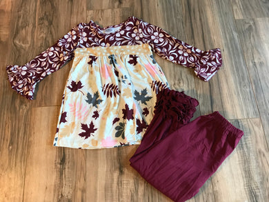Maple Leaves Bell Sleeve Ruffle Outfit
