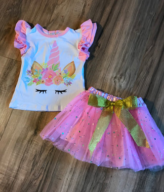Unicorn Ruffle Shirt & Tutu Skirt Set
