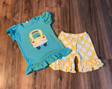 School Bus Outfit Ruffled Shirt & Shorts