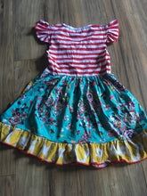 Load image into Gallery viewer, Boutique Tutu & Lulu Striped Floral Ruffle Dress