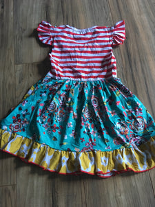 Boutique Tutu & Lulu Striped Floral Ruffle Dress
