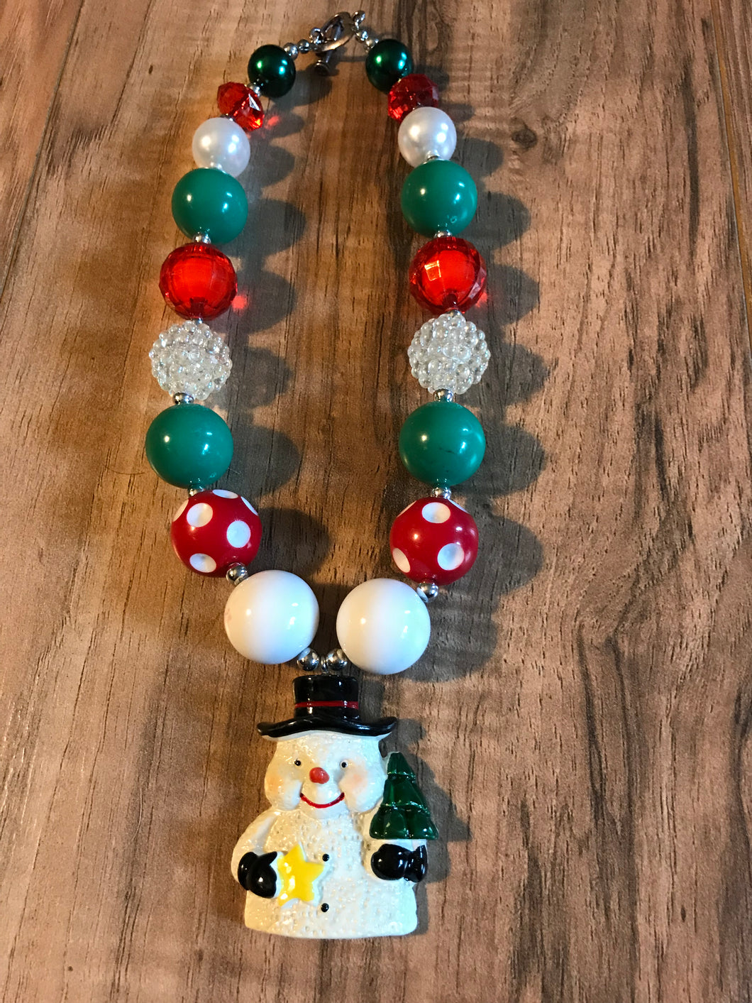 Snowman Chunky Bead Necklace