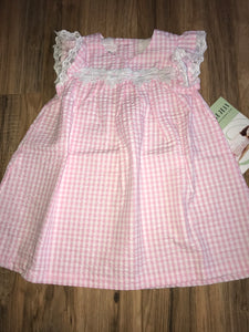 Bonnie Jean Pink Seersucker Babydoll Dress