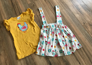 Country Girl Chicken Skirt & Shirt Outfit