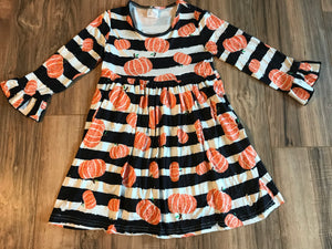 Fall Pumpkin Striped Ruffle Sleeve Dress