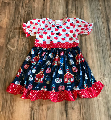 School House Apple Ruffle Dress