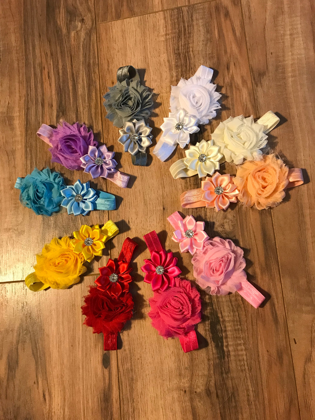 10 Baby/Toddler Shabby Chic Flower Headbands