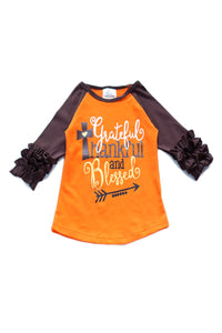 "Ruffle Sleeve Fall ""Grateful, Thankful, and Blessed"" Raglan Shirt"