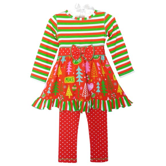 Christmas Tree Dress & Legging Set