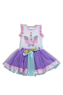 Birthday Girl Unicorn Shirt & Skirt Set