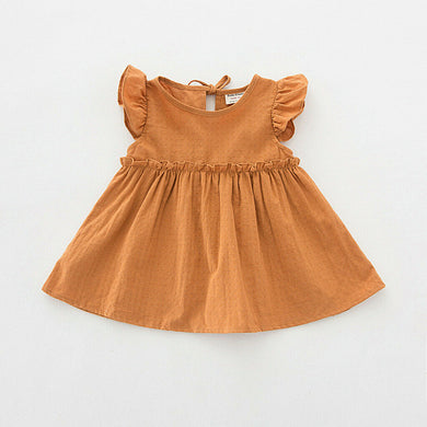Orange Flutter Sleeve Dress