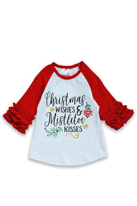 Christmas Wishes & Mistletoe Kisses Raglan Ruffle Shirt