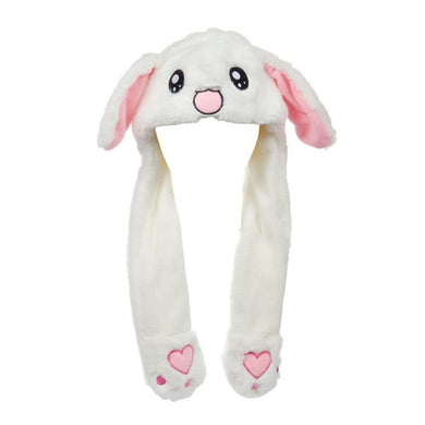 White Plush Bunny Hat with Moving Ears