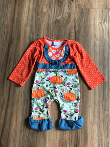 Pumpkin Print Ruffle Baby Romper Outfit