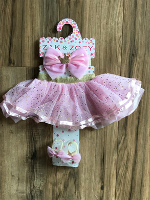 Light Pink Tutu Skirt, Headband, Barefoot Sandals Set