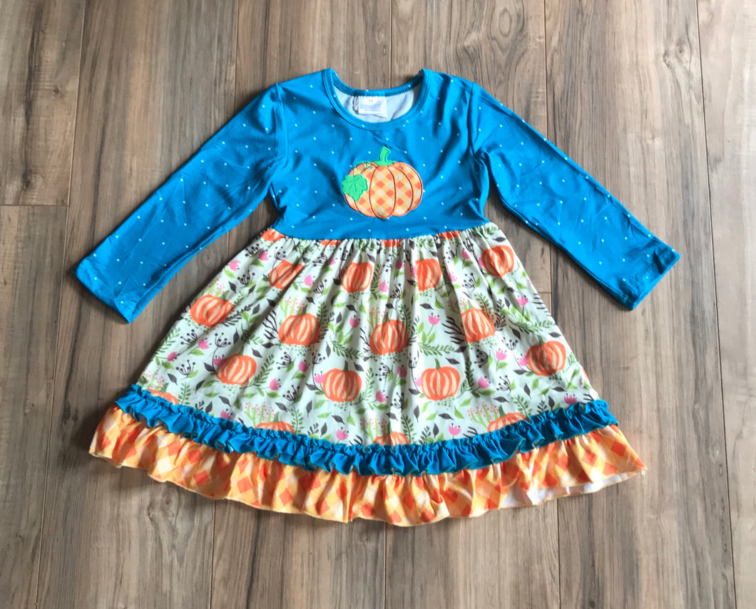 Turquoise Fall Pumpkin Ruffle Dress