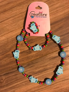 Blue Beaded Elephant Bracelet, Necklace, & Ring Set