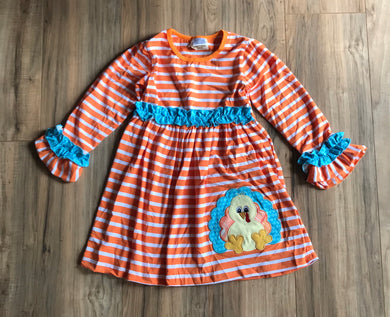 Orange Striped Ruffled Turkey Dress