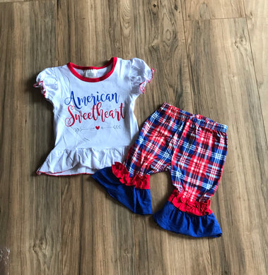 American Sweetheart Shirt & Ruffle Plaid Shorts Set