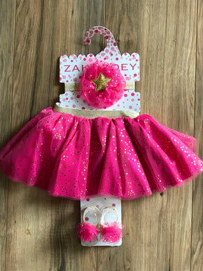Pink Tutu Skirt, Headband, Barefoot Sandals Set