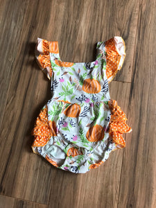 Pumpkin Patch Fall Ruffle Baby Romper Outfit