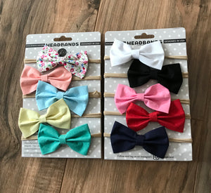 10 Baby Cotton Bow Headbands