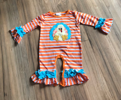 Orange Striped Turkey Ruffled Baby Romper