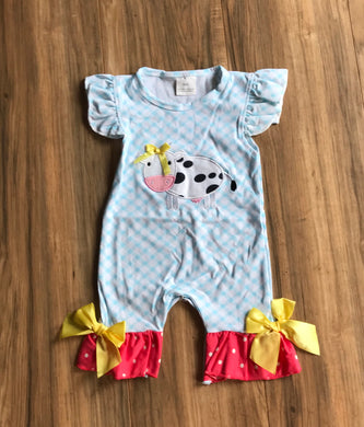 Blue Gingham Cow Country Girl Ruffle Baby Romper