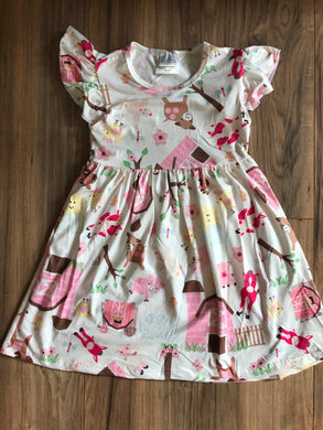 Farm Animal Country Girl Flutter Sleeve Dress