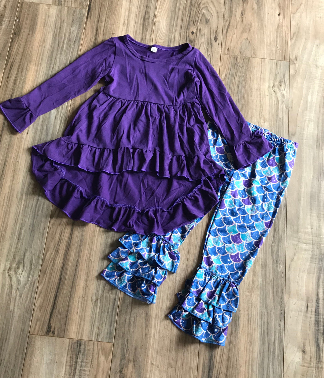 Mermaid Purple Boutique High Low Dress & Ruffle Pants Set