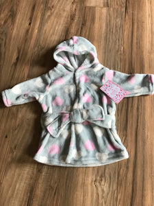 Zak & Zoey Gray Hearts Hooded Baby Robe