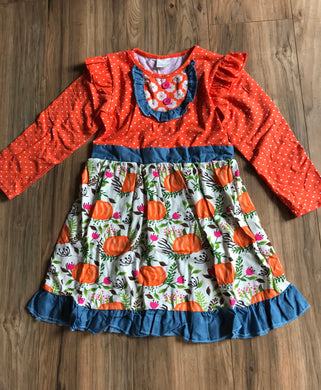 Pumpkin Print Ruffle Dress