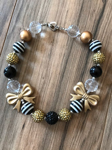 Black & Gold Bows Chunky Bead Necklace