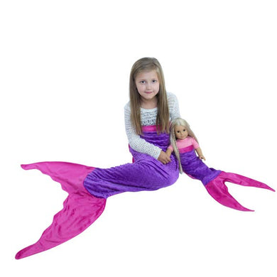Mermaid Tail Dollie & Me Blanket Set: choice of colors