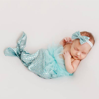 Baby Girl Mermaid Tail & Headband Set