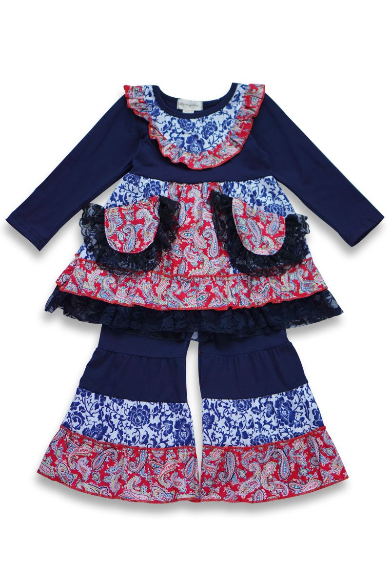 Navy Blue Boutique Ruffle Lace Outfit