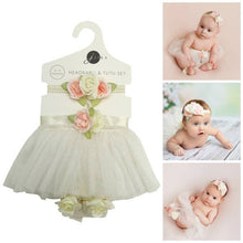 Load image into Gallery viewer, Baby Girl Ivory Tutu Skirt, Headband, Barefoot Sandals Set
