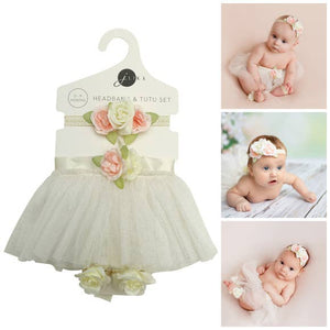 Baby Girl Ivory Tutu Skirt, Headband, Barefoot Sandals Set