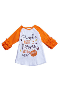 "Fall Ruffle Sleeve ""Pumpkin Kisses & Harvest Wishes"" Raglan Shirt"
