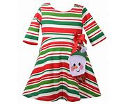 Bonnie Jean Striped Snowman Skater Dress